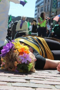 A protester dressed as a bee plays dead during a rally in favor of GMO labeling on Saturday, May 23, 2015, in Portland's Monument Square.